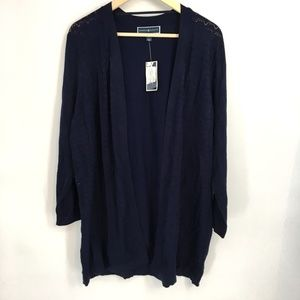 Karen Scott Navy Blue Pointelle Duster Cardigan